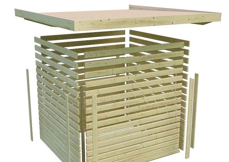 Karibu Holz-Gartenhaus Sparset Cubini 19 mm kastanienrot, inkl. 2 x selbstklebende Premium-Aluminiumfolie und Anbaudach