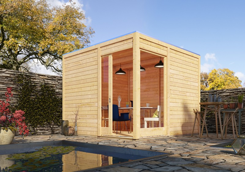Karibu Holz-Gartenhaus  28mm Qubu Eck naturbelassen inkl. Alu-Dachbahnrolle