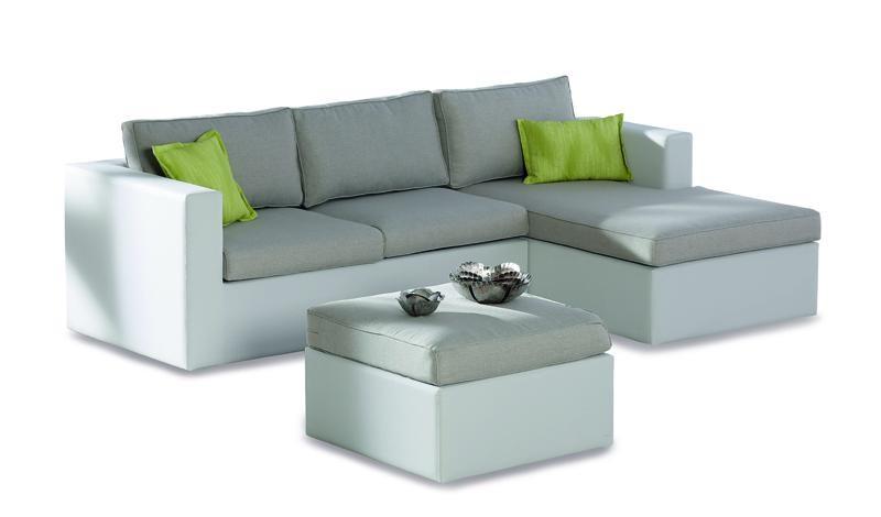 Best Lounge-Gruppe Kuba Chaise-Longue rechts Ergotex, Farbe: weiß-natur