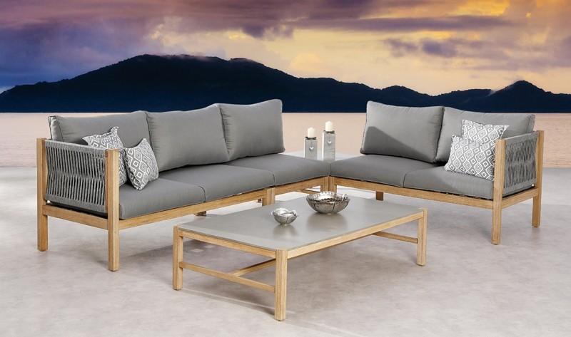 Best Lounge-Eckteil 1-Sitzer Madagaskar inkl. Auflagen - Eukaltyptus/Gurt