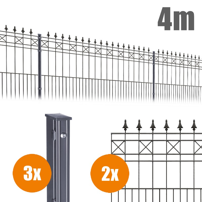 AOS Schmuckzaun Komplett-Zaun Residenzen klassik MODENA Länge 4m x Höhe 1,1 m anthrazit