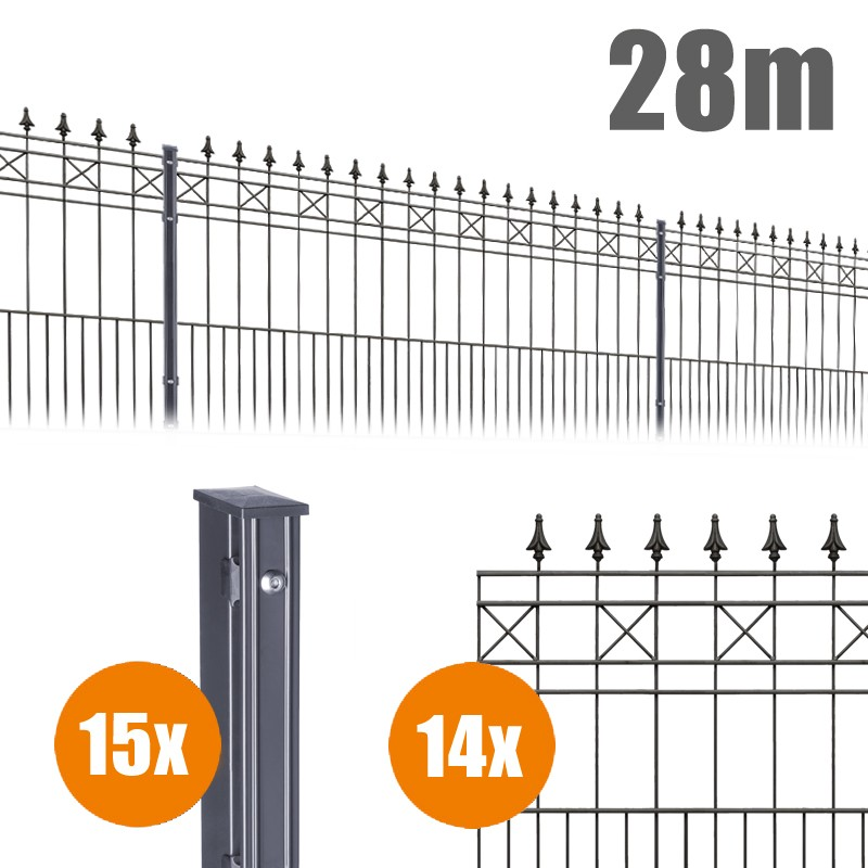 AOS Schmuckzaun Komplett-Zaun Residenzen klassik MODENA Länge 28m x Höhe 1,1 m anthrazit