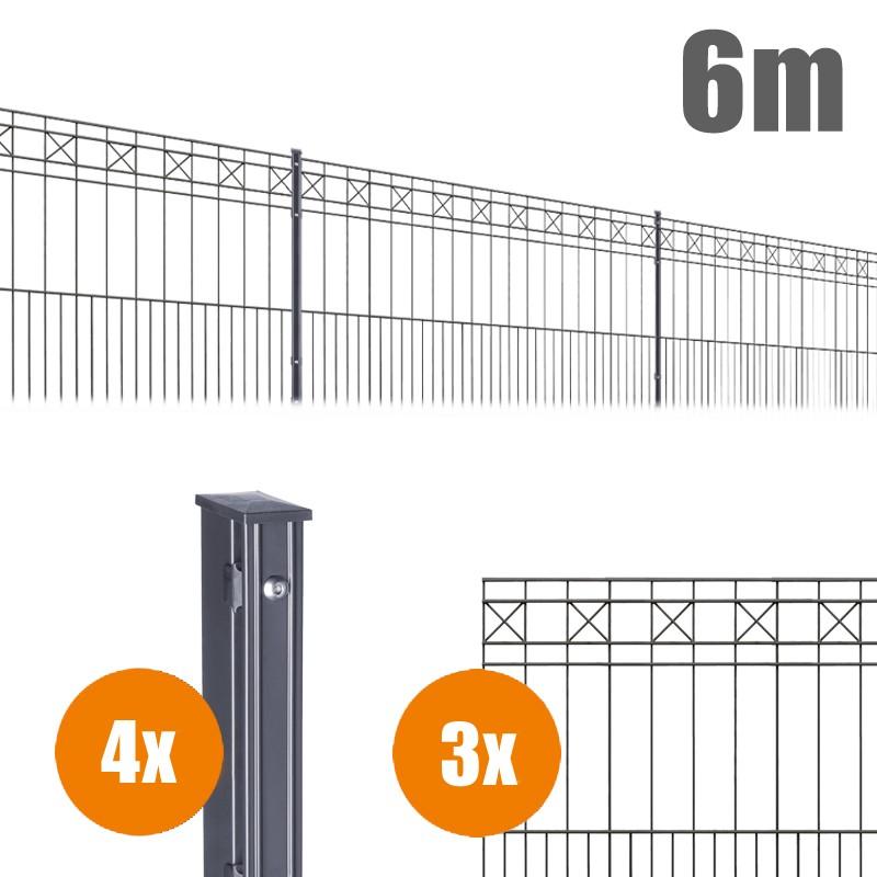 AOS Schmuckzaun Komplett-Zaun Residenzen klassik PISA Länge 6m x Höhe 1,0 m anthrazit