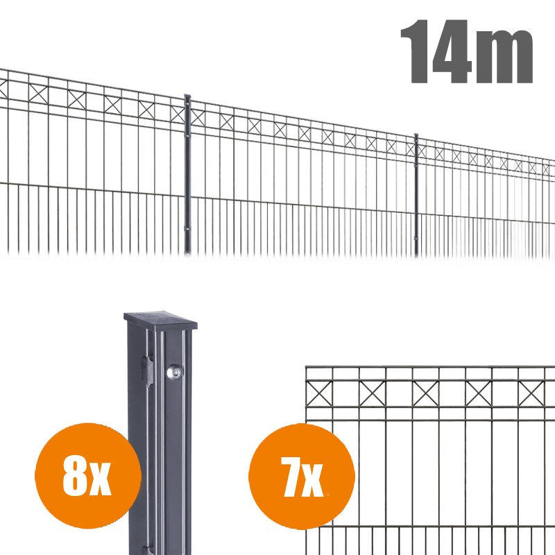 AOS Schmuckzaun Komplett-Zaun Residenzen klassik PISA Länge 14m x Höhe 0,8 m anthrazit