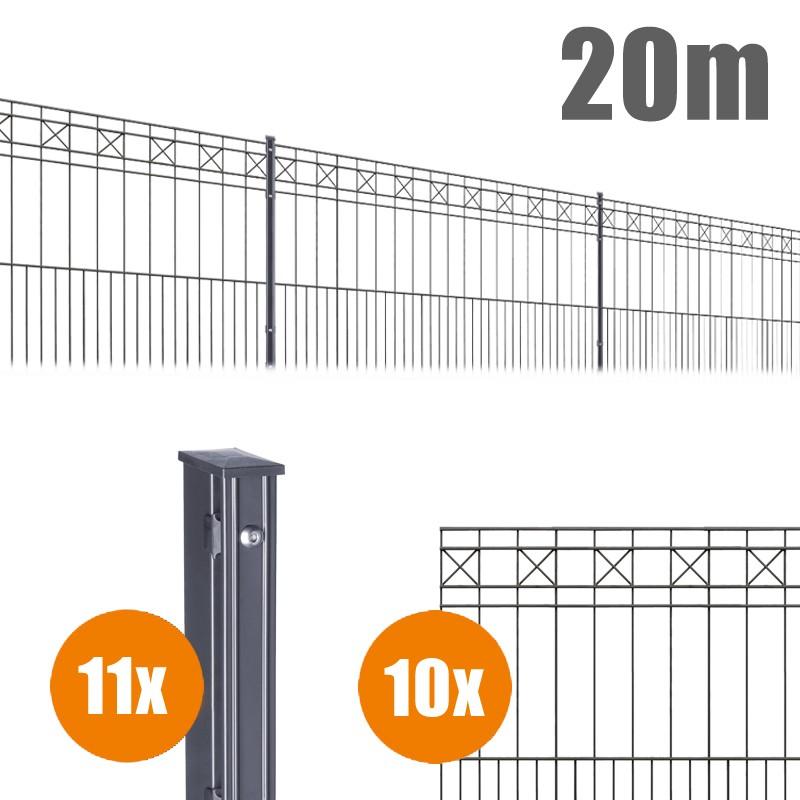 AOS Schmuckzaun Komplett-Zaun Residenzen klassik PISA Länge 20m x Höhe 1,0 m anthrazit