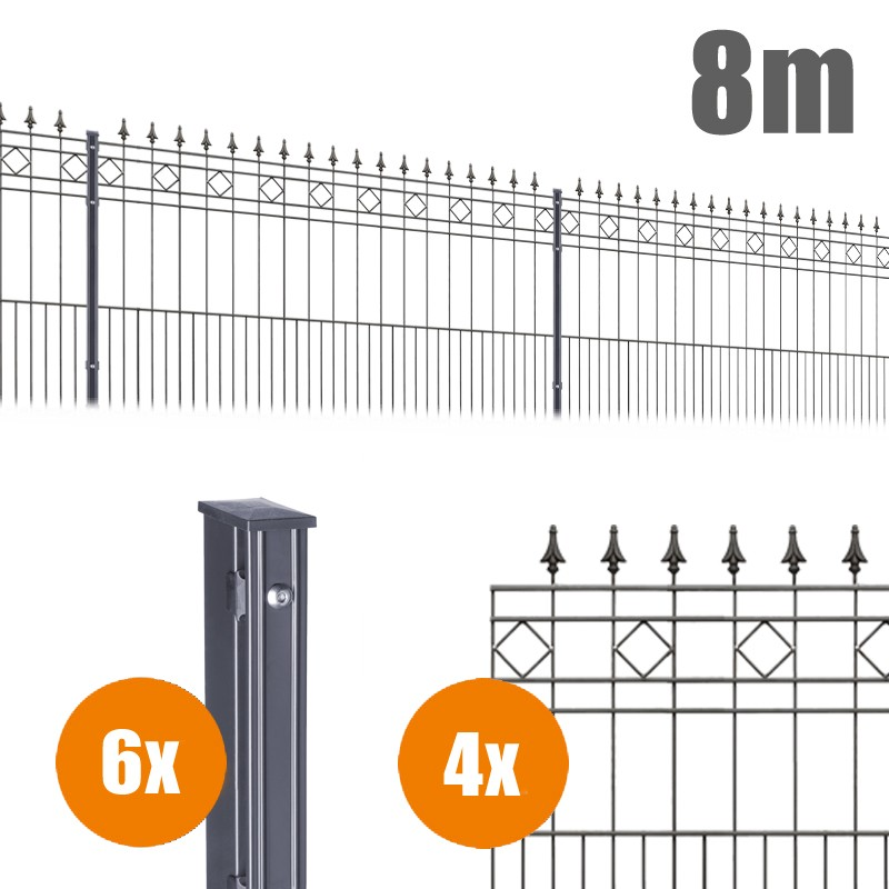 AOS Schmuckzaun Komplett-Zaun Residenzen klassik RIMINI Länge 8m x Höhe 1,1 m anthrazit
