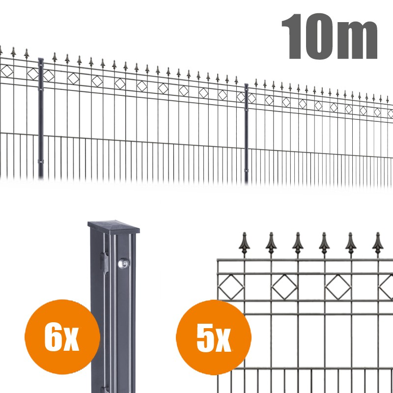 AOS Schmuckzaun Komplett-Zaun Residenzen klassik RIMINI Länge 10m x Höhe 1,1 m anthrazit