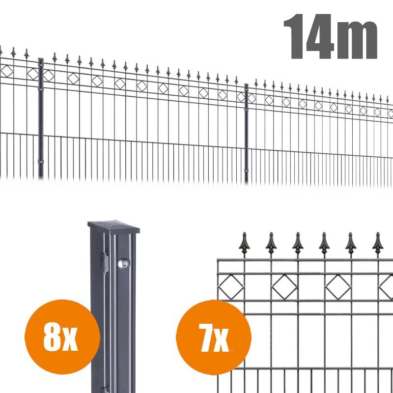 AOS Schmuckzaun Komplett-Zaun Residenzen klassik RIMINI Länge 14m x Höhe 1,1 m anthrazit