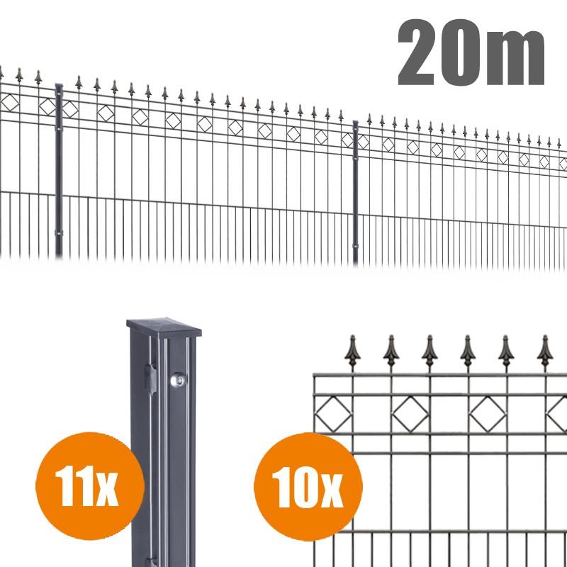 AOS Schmuckzaun Komplett-Zaun Residenzen klassik RIMINI Länge 20m x Höhe 0,9 m anthrazit