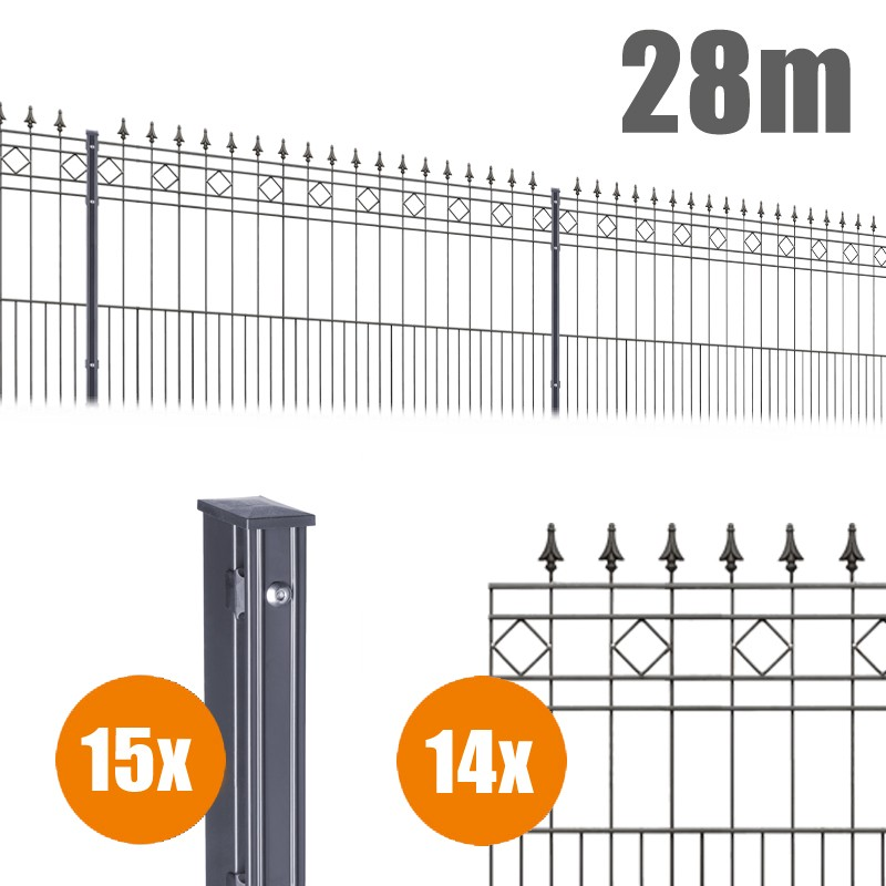 AOS Schmuckzaun Komplett-Zaun Residenzen klassik RIMINI Länge 28m x Höhe 1,1 m anthrazit