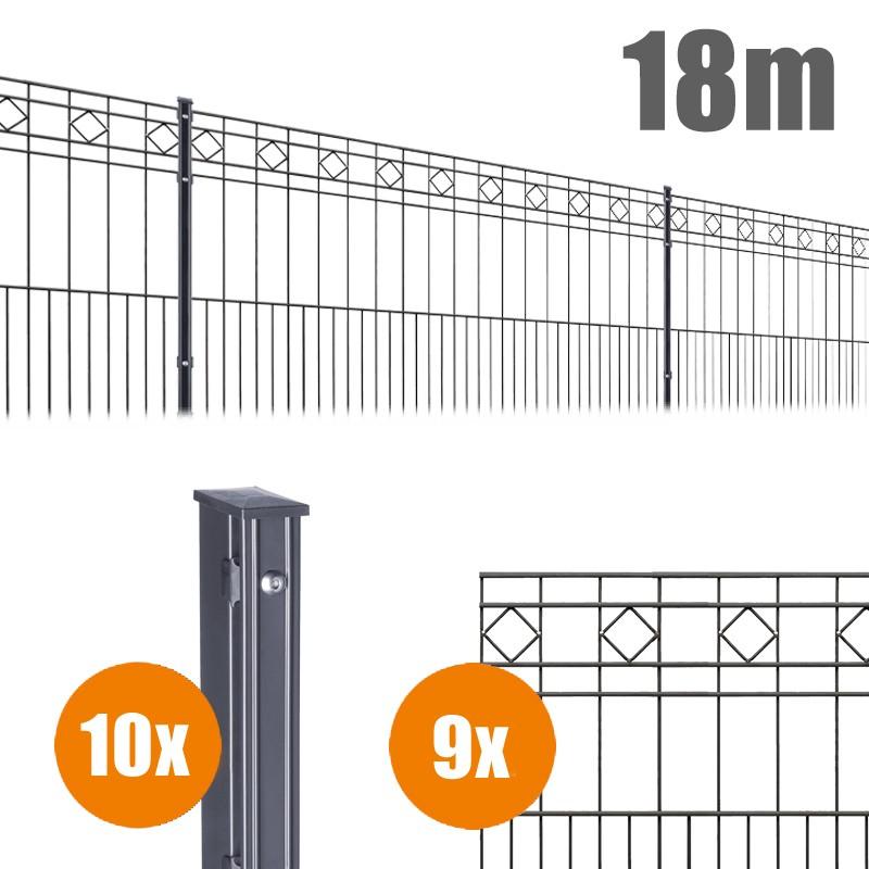 AOS Schmuckzaun Komplett-Zaun Residenzen klassik TURIN Länge 18m x Höhe 0,8 m anthrazit