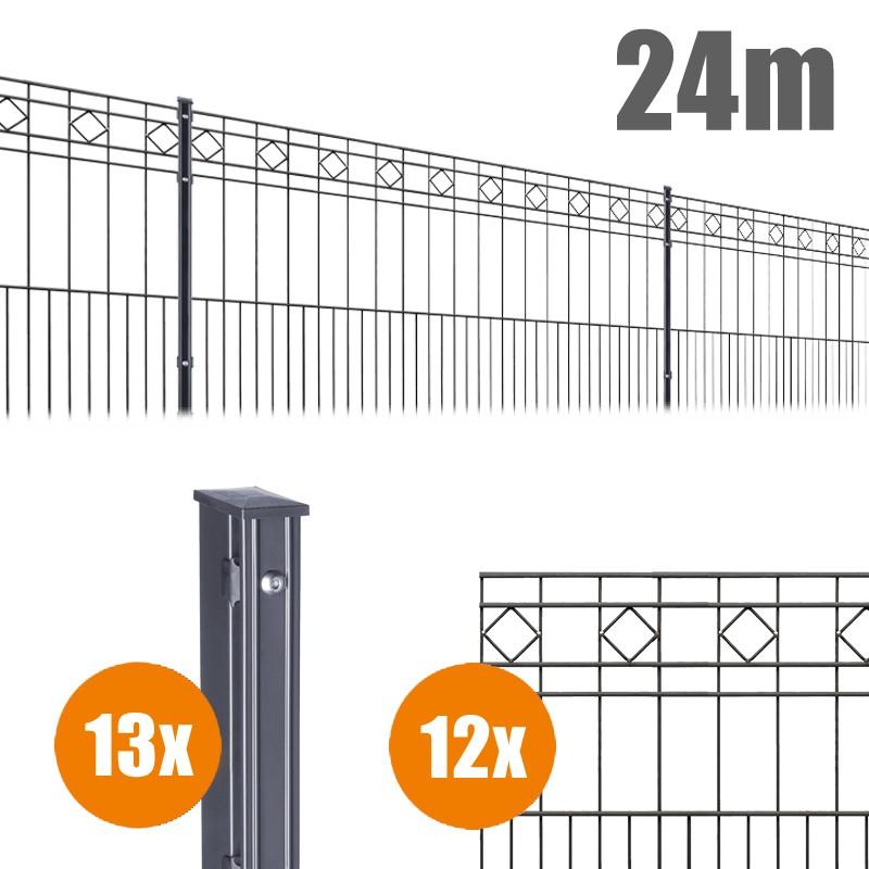 AOS Schmuckzaun Komplett-Zaun Residenzen klassik TURIN Länge 24m x Höhe 0,8 m anthrazit