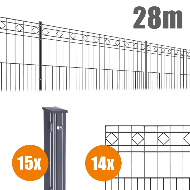 AOS Schmuckzaun Komplett-Zaun Residenzen klassik TURIN Länge 28m x Höhe 0,8 m anthrazit