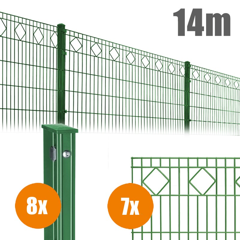 AOS Schmuckzaun Komplett-Zaun VALENCIA Länge 14m x Höhe 0,8 m moosgrün