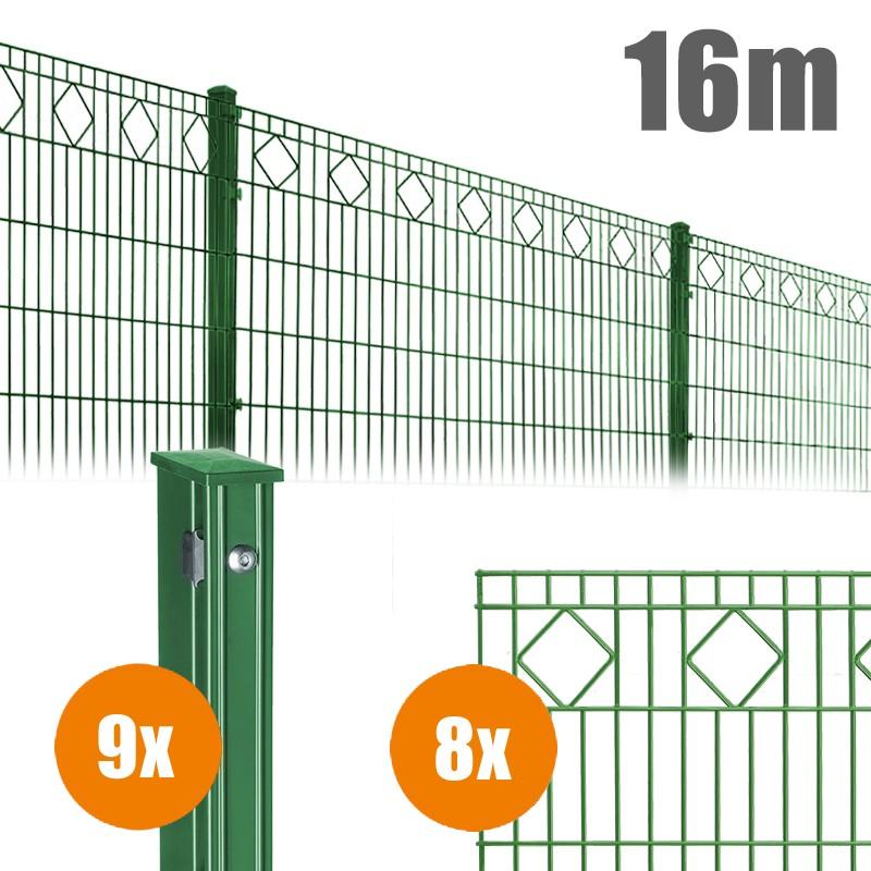 AOS Schmuckzaun Komplett-Zaun VALENCIA Länge 16m x Höhe 1,0 m moosgrün
