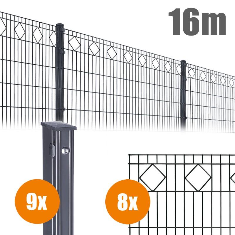 AOS Schmuckzaun Komplett-Zaun VALENCIA Länge 16m x Höhe 0,8 m anthrazit