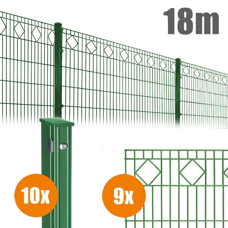 AOS Schmuckzaun Komplett-Zaun VALENCIA Länge 18m x Höhe 1,0 m moosgrün