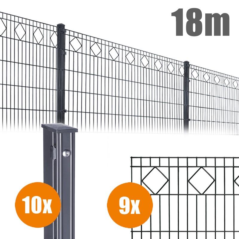 AOS Schmuckzaun Komplett-Zaun VALENCIA Länge 18m x Höhe 1,0 m anthrazit