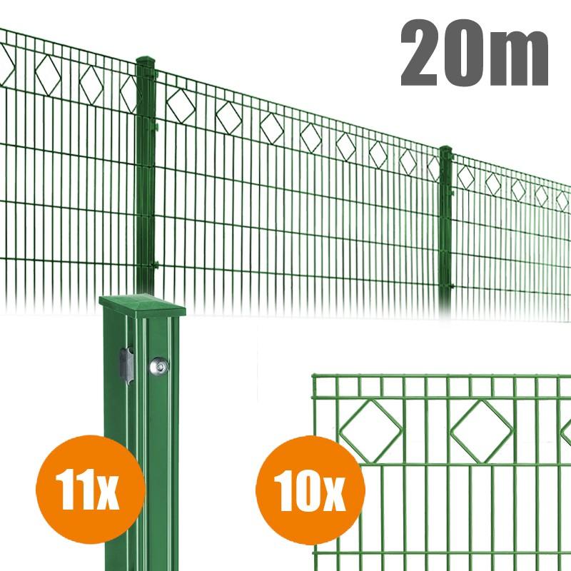 AOS Schmuckzaun Komplett-Zaun VALENCIA Länge 20m x Höhe 0,8 m moosgrün