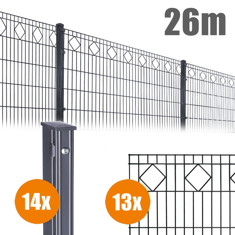 AOS Schmuckzaun Komplett-Zaun VALENCIA Länge 26m x Höhe 1,0 m anthrazit