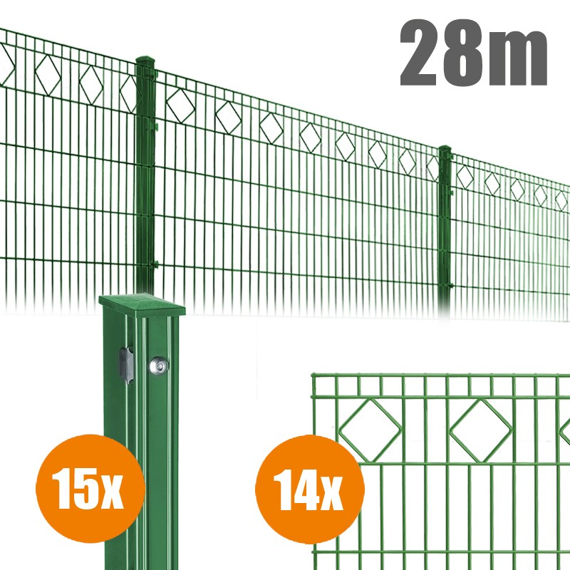 AOS Schmuckzaun Komplett-Zaun VALENCIA Länge 28m x Höhe 1,0 m moosgrün