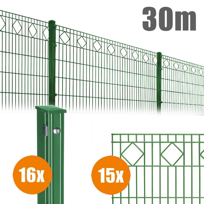 AOS Schmuckzaun Komplett-Zaun VALENCIA Länge 30m x Höhe 1,0 m moosgrün