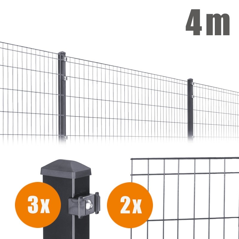 AOS Matte Michl Komplett-Zaun MICHL Länge 4m x Höhe 1,2 m anthrazit