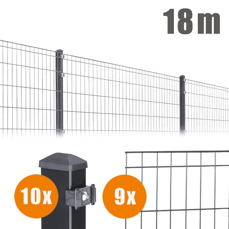 AOS Matte Michl Komplett-Zaun MICHL Länge 18m x Höhe 0,8 m anthrazit