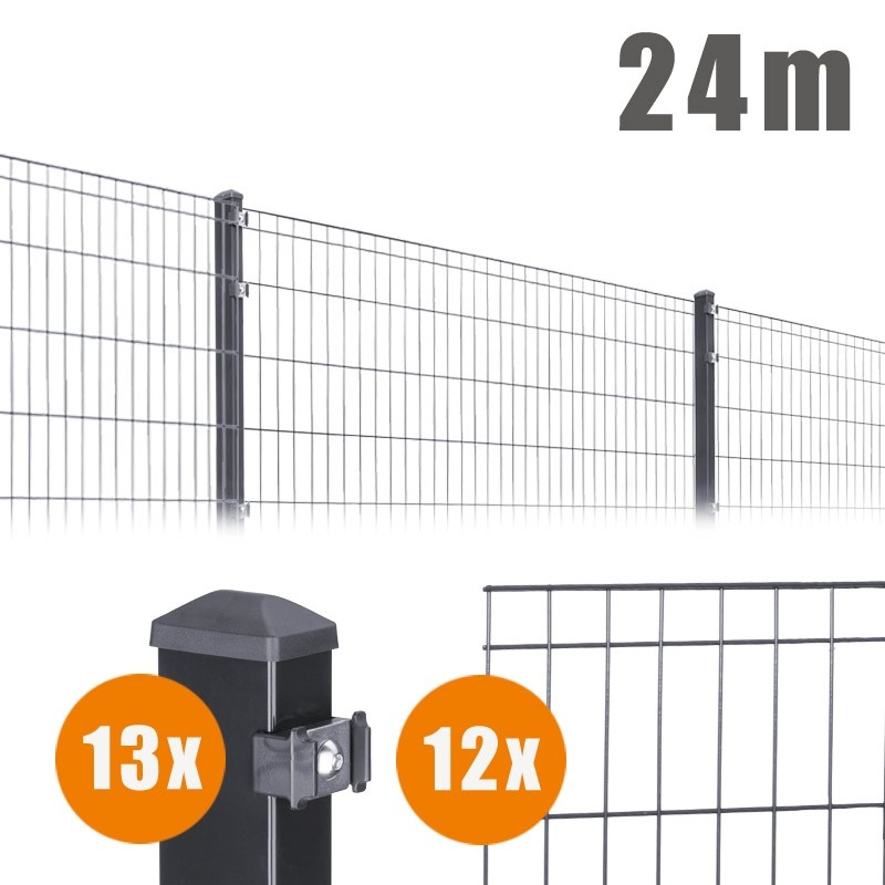 AOS Matte Michl Komplett-Zaun MICHL Länge 24m x Höhe 0,8 m anthrazit