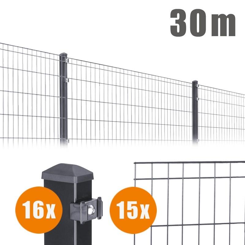 AOS Matte Michl Komplett-Zaun MICHL Länge 30m x Höhe 0,8 m anthrazit