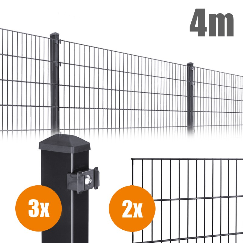 AOS Matte Pico Komplett-Zaun PICO S Länge 4m x Höhe 0,8 m anthrazit