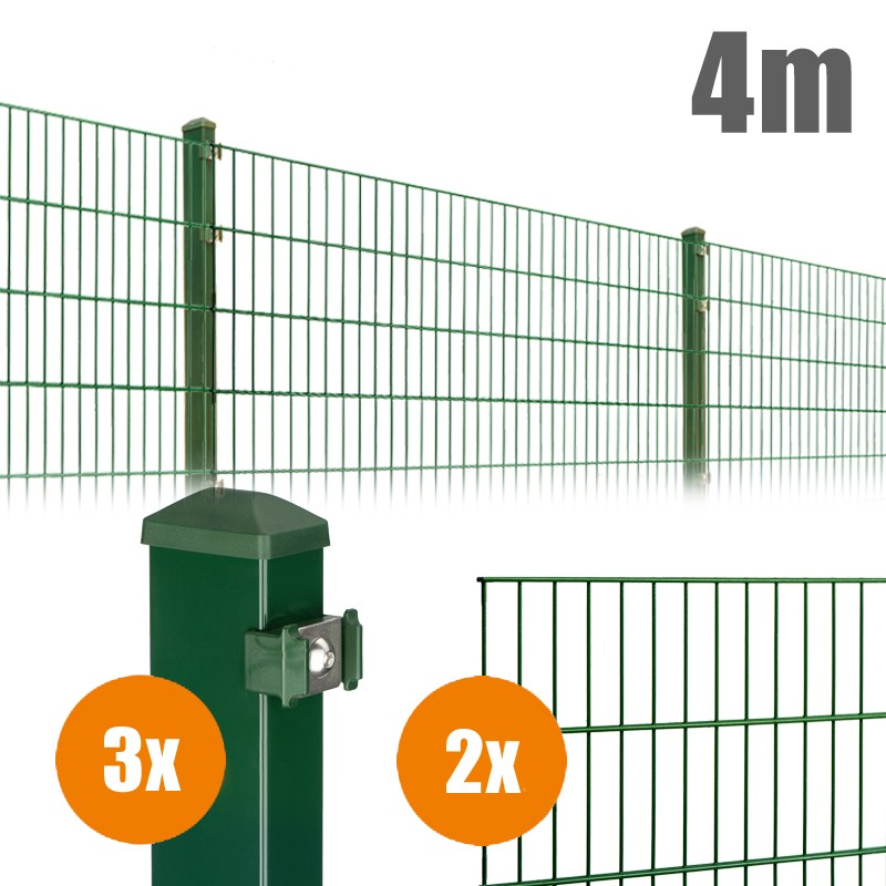 AOS Matte Pico Komplett-Zaun PICO S Länge 4m x Höhe 1,2 m moosgrün