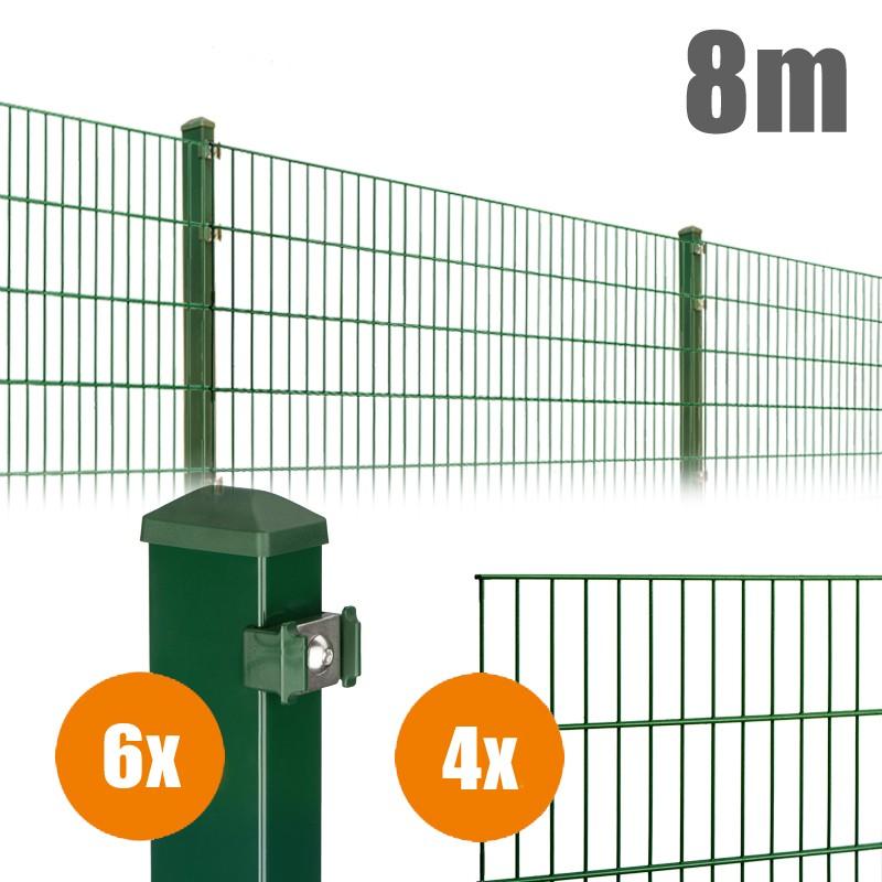 AOS Matte Pico Komplett-Zaun PICO S Länge 8m x Höhe 0,8 m moosgrün