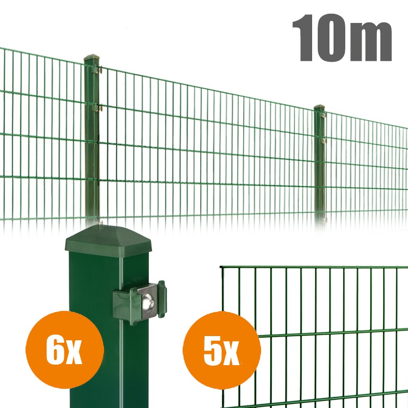 AOS Matte Pico Komplett-Zaun PICO S Länge 10m x Höhe 1,2 m moosgrün