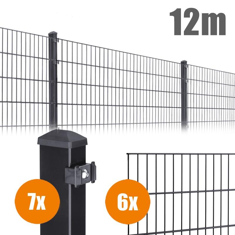 AOS Matte Pico Komplett-Zaun PICO S Länge 12m x Höhe 0,8 m anthrazit