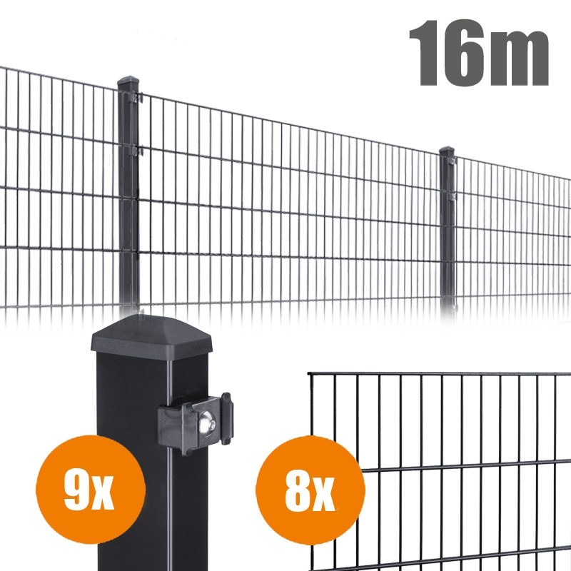 AOS Matte Pico Komplett-Zaun PICO S Länge 16m x Höhe 1,2 m anthrazit