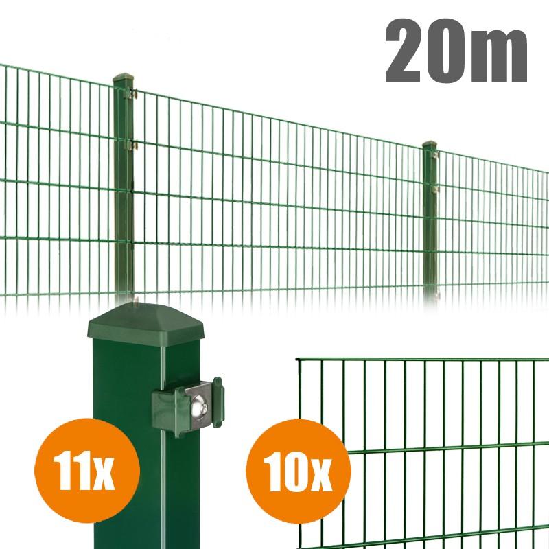 AOS Matte Pico Komplett-Zaun PICO S Länge 20m x Höhe 1,2 m moosgrün