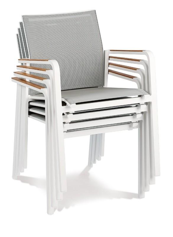 Best Stapelsessel Paros - Dining-Sessel mit Teakholz-Armlehne - Aluminium/Ergotex/Teak in weiß/grau