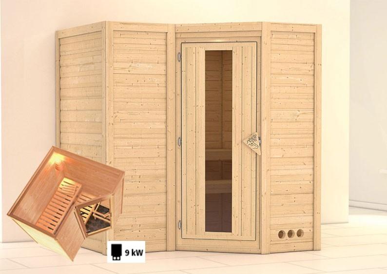 Karibu Massiv Sauna Sahib 1 Energiespartür (Eckeinstieg) 40 mm inkl. Ofen 9 kW mit integr. Steuerung