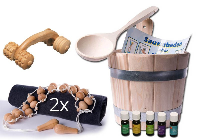 Sauna Starter Set 6 teilig (Kübel, Kelle, 3 x Massageroller, Nässeschutz)