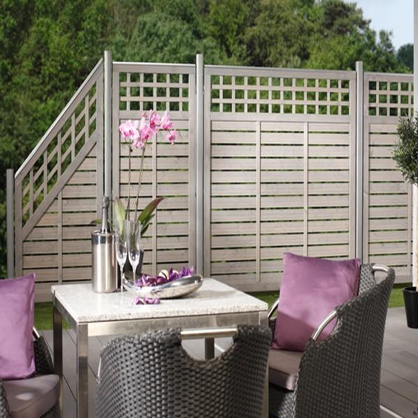 TraumGarten Sichtschutzzaun GALANT Rechteck mit Gitter grau lasiert - 89 x 179 cm