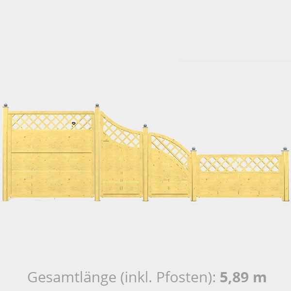 TraumGarten Sichtschutzzaun Holz Komplettset aus Serie XL naturbelassen - 5,89 m