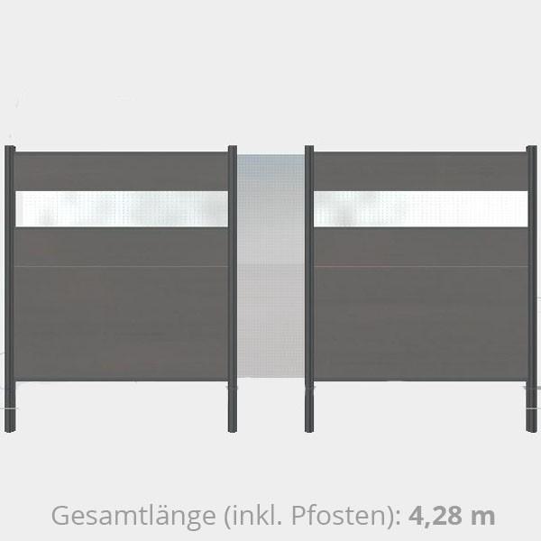 TraumGarten Sichtschutzzaun WPC Komplettset aus Serie System WPC XL anthrazit - 4,28  m