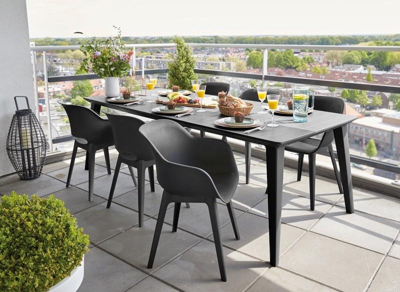 Best Vollkunststoff-Gruppe Split - Dining-Ess-Garntiur- Vollkunststoff - graphit - Set