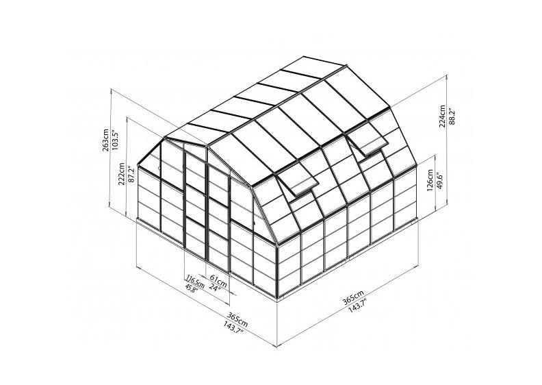 Tepro Gewächshaus Americana 12x12