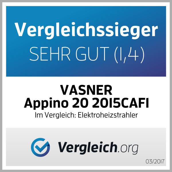 VASNER Infrarot Heizstrahler Appino 20 - Terrassenstrahler - Infrarotstrahler - Fernbedienung und App Steuerung - 2000 Watt - Farbe: schwarz