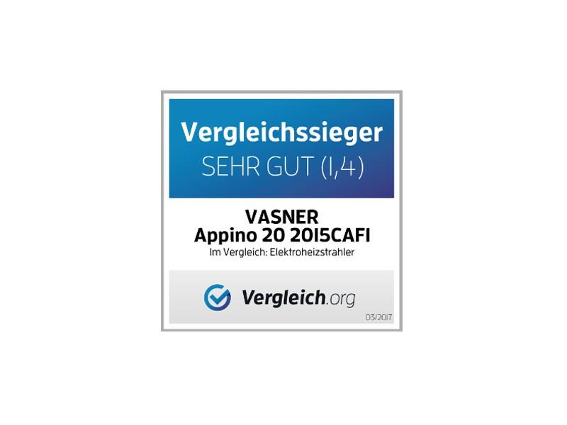 VASNER Appino BEATZZ Infrarot-Heizstrahler, Terrassenstrahler dimmbar 2000 W, Bluetooth, LED Backlight Licht, Musik-Lautsprecher Außenbereich Farbe: weiß