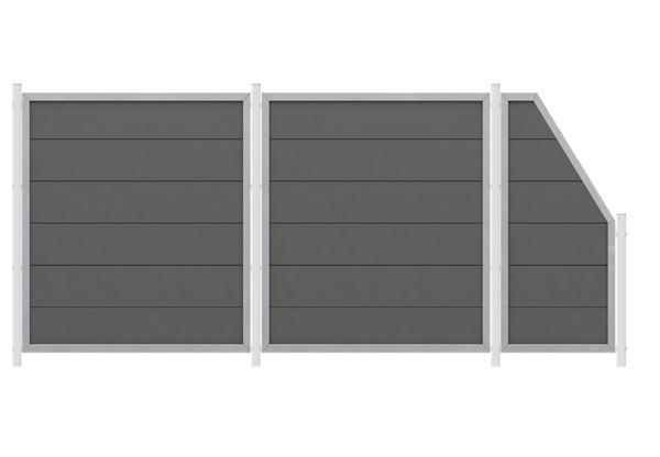 TraumGarten Sichtschutzzaun WPC Sparset Design WPC Alu anthrazit zum Einbetonieren - 4,84 m