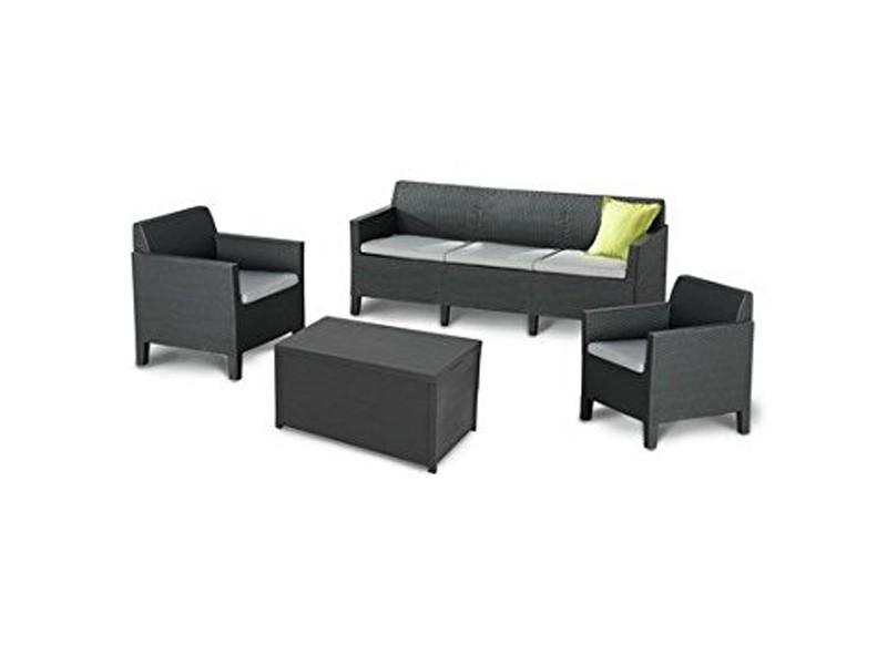 Best Lounge Gruppe Amalfi 3er Couch und 2 Sessel inkl. Polster und Tisch, graphit