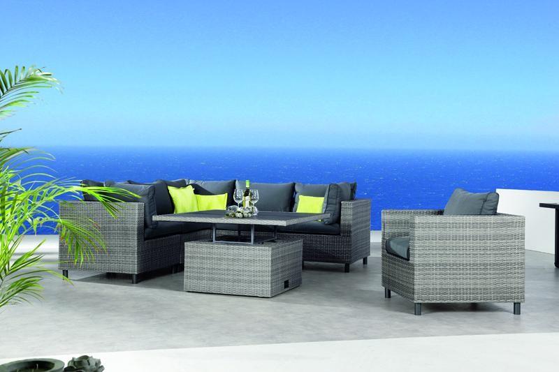 Best Lounge-Set Bonaire 5 Sitze inkl. Polstern und Tisch, warm-gray